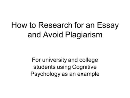 to avoid plagiarism in your written research paper Use of material written by  why should you avoid plagiarism  if you are suspected of plagiarism your college secretary/academic administrator.