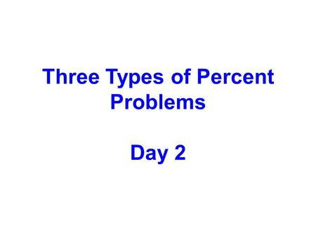 Three Types of Percent Problems Day 2. 60 = 24.40 Examples: Find 40% of 60 20% of 90.20 90 = 18 Write a mathematical sentence Click.