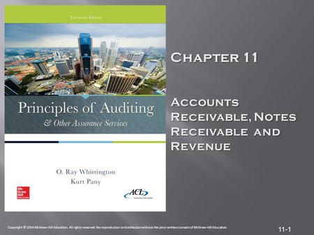 Chapter 11 Accounts Receivable, Notes Receivable and Revenue