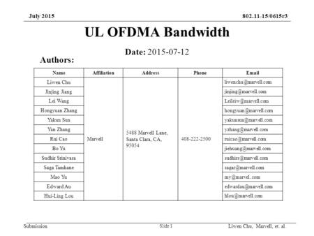 Submission 802.11-15/0615r3July 2015 UL OFDMA Bandwidth Slide 1 Date: 2015-07-12 Authors: NameAffiliationAddressPhoneEmail Liwen Chu Marvell 5488 Marvell.