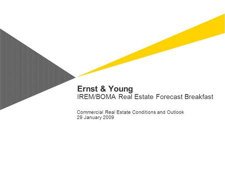Ernst & Young IREM/BOMA Real Estate Forecast Breakfast Commercial Real Estate Conditions and Outlook 29 January 2009.