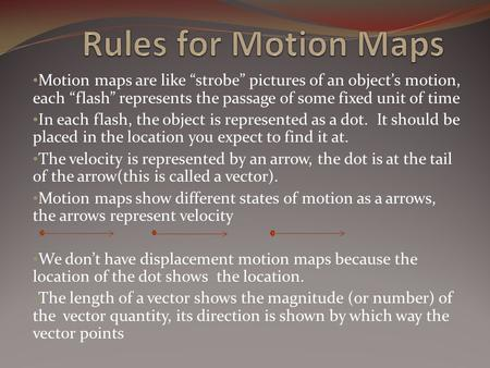 "Motion maps are like ""strobe"" pictures of an object's motion, each ""flash"" represents the passage of some fixed unit of time In each flash, the object."