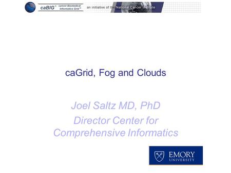 CaGrid, Fog and Clouds Joel Saltz MD, PhD Director Center for Comprehensive Informatics.