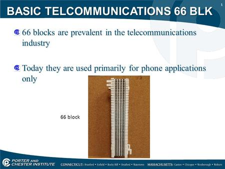 1 66 blocks are prevalent in the telecommunications industry Today they are used primarily for phone applications only 66 blocks are prevalent in the telecommunications.