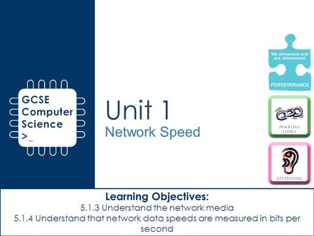 Unit 1 Network Speed Learning Objectives: 5.1.3 Understand the network media 5.1.4 Understand that network data speeds are measured in bits per second.