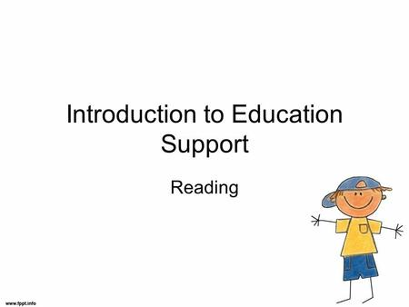 Introduction to Education Support Reading. Learning to Read Children usually begin to 'read' familiar sight words before they begin to write. Reading.