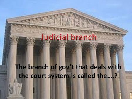 The branch of gov't that deals with the court system is called the….?