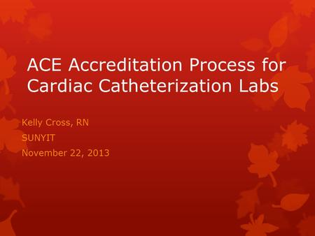 ACE Accreditation Process for Cardiac Catheterization Labs Kelly Cross, RN SUNYIT November 22, 2013.