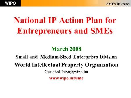 SMEs Division National IP Action Plan for Entrepreneurs and SMEs March 2008 Small and Medium-Sized Enterprises Division World Intellectual Property Organization.