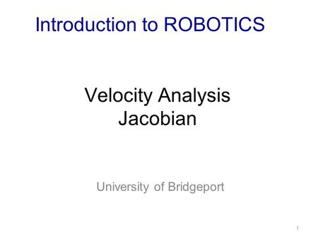 Velocity Analysis Jacobian