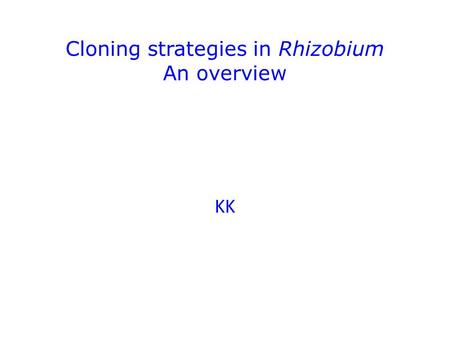 Cloning strategies in Rhizobium An overview