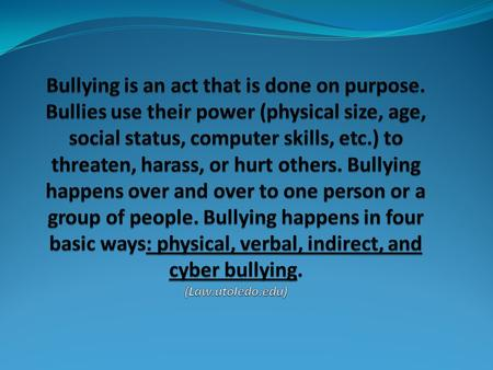 Physical Bullying Physical bullying happens when there is hitting, kicking, punching, taking peoples' belongings or other acts that hurt people physically.