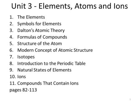 Unit 3 - Elements, Atoms and Ions 1.The Elements 2.Symbols for Elements 3.Dalton's Atomic Theory 4.Formulas of Compounds 5.Structure of the Atom 6.Modern.