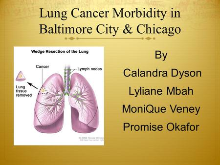 Lung Cancer Morbidity in Baltimore City & Chicago By Calandra Dyson Lyliane Mbah MoniQue Veney Promise Okafor.