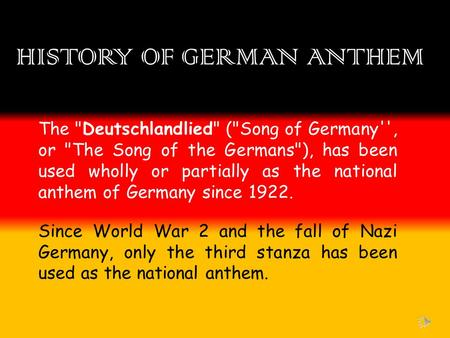 HISTORY OF GERMAN ANTHEM