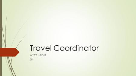 Travel Coordinator Wyatt Raines 2B. What is a Travel Coordinator  Responsible for coordinating the company's travel needs.  Schedules hotel and flight.