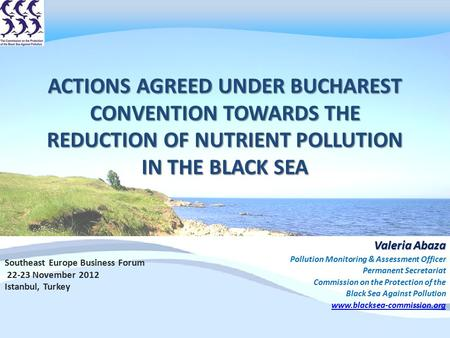 ACTIONS AGREED UNDER BUCHAREST CONVENTION TOWARDS THE REDUCTION OF NUTRIENT POLLUTION IN THE BLACK SEA Valeria Abaza Pollution Monitoring & Assessment.