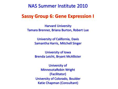 NAS Summer Institute 2010 Sassy Group 6: Gene Expression I Harvard University Tamara Brenner, Briana Burton, Robert Lue Harvard University Tamara Brenner,