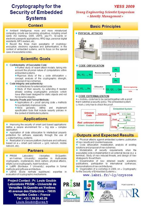 Project supported by YESS 2009 Young Engineering Scientist Symposium « Identity Management » Cryptography for the Security of Embedded Systems Ambient.
