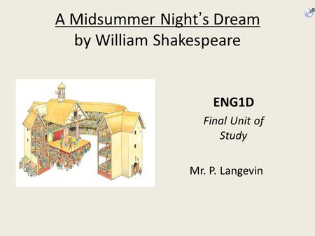 A Midsummer Night's Dream by William Shakespeare ENG1D Final Unit of Study Mr. P. Langevin.