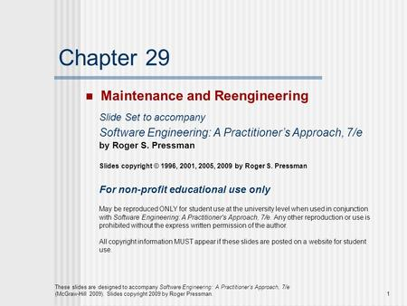 Chapter 29 Maintenance and Reengineering