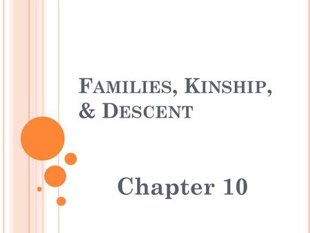 F AMILIES, K INSHIP, & D ESCENT Chapter 10. N UCLEAR F AMILY Term nuclear is used in its general meaning referring to a central entity or nucleus around.