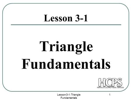 Triangle Fundamentals