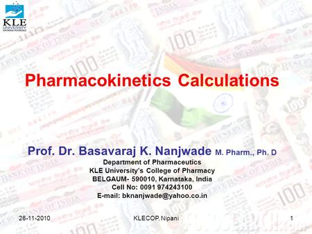 Pharmacokinetics Calculations