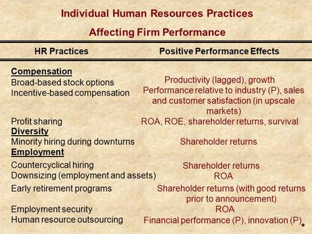 Individual Human Resources Practices Affecting Firm Performance Compensation Broad-based stock options Incentive-based compensation Profit sharing Diversity.