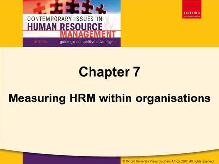 Measuring HRM within organisations