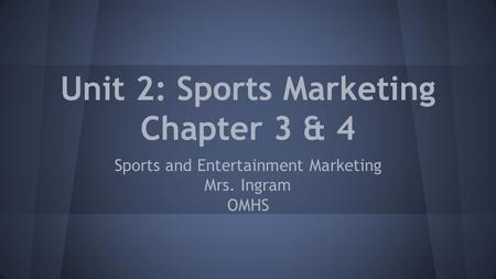 Ch 3: The Sports Market.