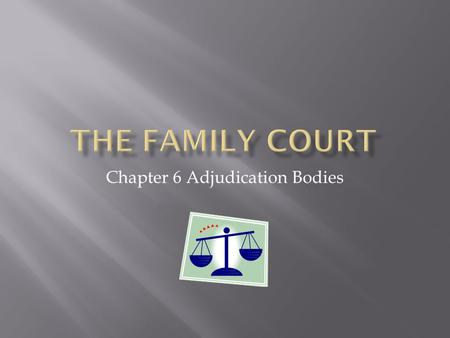 Chapter 6 Adjudication Bodies. Federal Court Level – established in 1976 under the Family Law Act 1975 (Cth) Function: - to deal with family disputes.