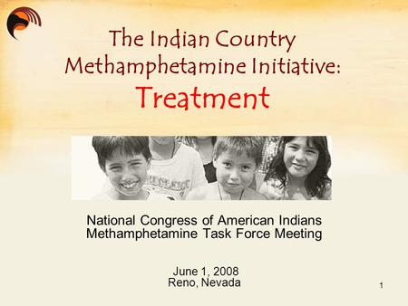 National Congress of American Indians Methamphetamine Task Force Meeting June 1, 2008 Reno, Nevada The Indian Country Methamphetamine Initiative: Treatment.
