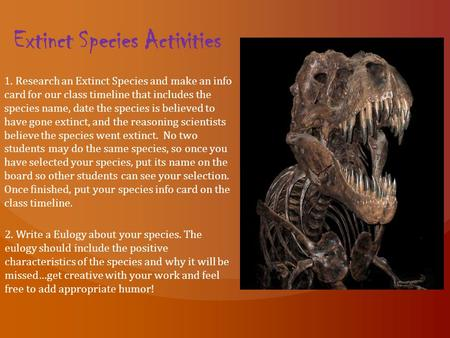 Extinct Species Activities