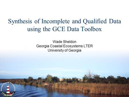 Synthesis of Incomplete and Qualified Data using the GCE Data Toolbox Wade Sheldon Georgia Coastal Ecosystems LTER University of Georgia.