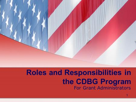 1 1 Roles and Responsibilities in the CDBG Program For Grant Administrators.