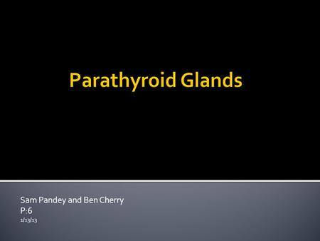 Sam Pandey and Ben Cherry P:6 1/13/13.  We normally have 4 parathyroid glands total  Located in the neck  Exist behind the Thyroid gland  Exist in.