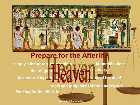 Egyptian belief of Afterlife1 Prepare for the Afterlife simply a temporary interruption be ensured by piety to the gods Mummification the religious ritual.