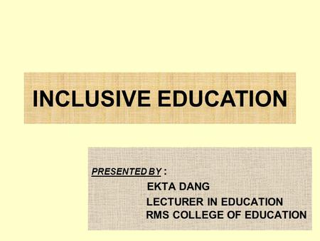 LECTURER IN EDUCATION RMS COLLEGE OF EDUCATION