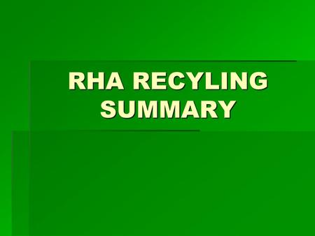 RHA RECYLING SUMMARY. GOALS OF A SUCCESSFUL RECYCLING PROGRAM  Effective Resource Conservation  Energy efficient  Salvage materials  Financially Responsible.