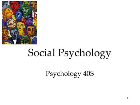 1 Social Psychology Psychology 40S. 2 Focuses in Social Psychology Social psychology studies how we behave, think and feel in social situations. Social.