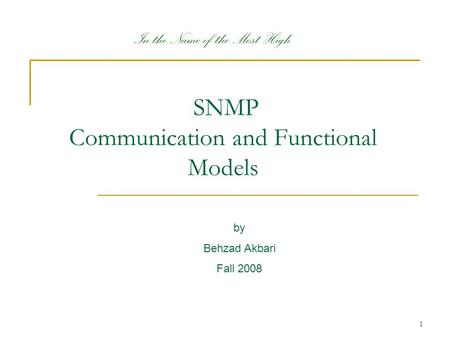 SNMP Communication and Functional Models