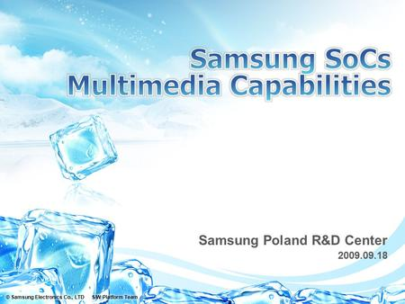 Samsung Poland R&D Center 2009.09.18. 2 © Samsung Electronics Co., LTD S/W Platform Team | Ver.DateDescriptionAuthorReviewer 0.12009/09/18Initial VersionMarek.