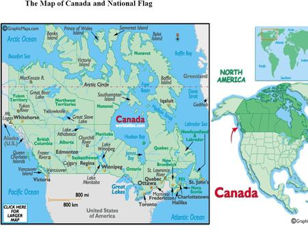 The Map of Canada and National Flag. II. Australia National flag.