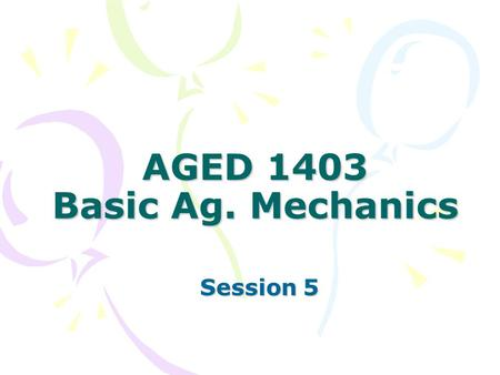 AGED 1403 Basic Ag. Mechanics Session 5. Today Power tool review Previous tools: Bench saw, miter box saw, portable circular saw, portable drill, drill.