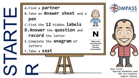 STARTE R A.Find a partner B.Take an Answer sheet and a pen C.Find the 12 hidden labels D.Answer the question and record the letter E.Complete the anagram.