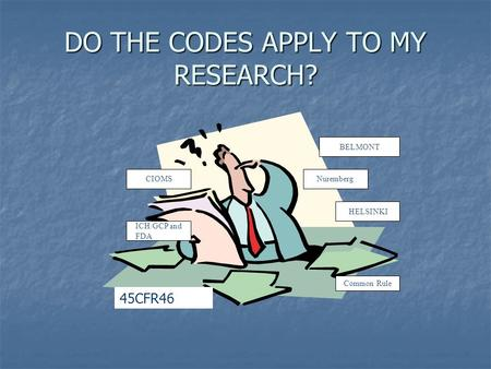 DO THE CODES APPLY TO MY RESEARCH? BELMONT HELSINKI CIOMS ICH/GCP and FDA Nuremberg Common Rule 45CFR46.