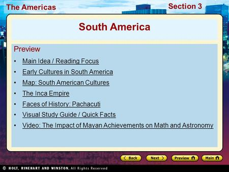 South America Preview Main Idea / Reading Focus