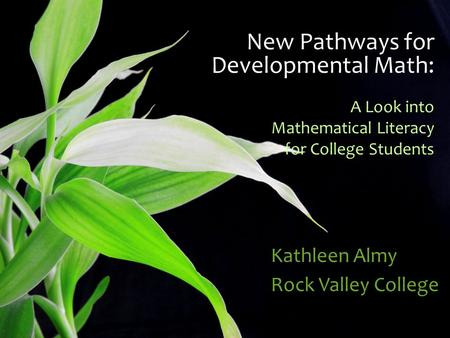 New Pathways for Developmental Math: A Look into Mathematical Literacy for College Students Kathleen Almy Rock Valley College.