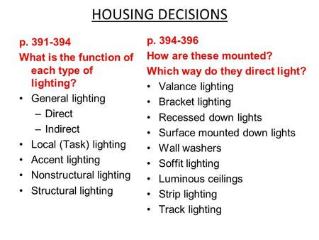 HOUSING DECISIONS p. 394-396 How are these mounted? Which way do they direct light? Valance lighting Bracket lighting Recessed down lights Surface mounted.